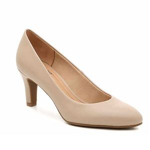 New! Abella Tan Faux Leather Almond Toe Pumps